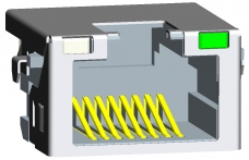 Shielded RJ45 Modular Jack, Through Hole Type, Offset, LED